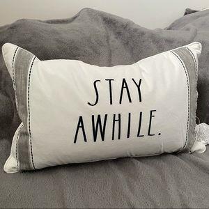 Rae Dunn Stay Awhile decorative pillow